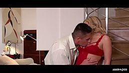 Jemma Valentine put on erotic red lingerie because her lover is coming to her place later